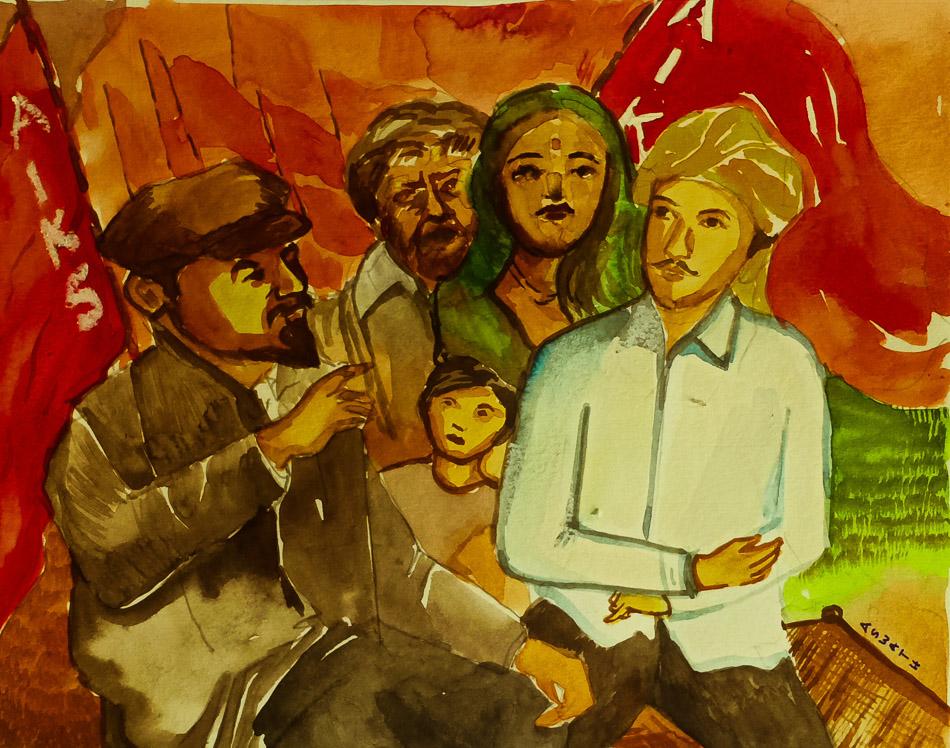 Gemälde von Aswath (Indien), Lenin traf Indien